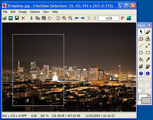 Using Irfanview to resize to crop an image.